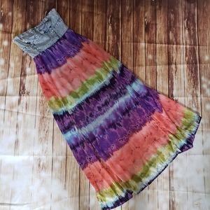 Denim Bodice Rainbow Maxi Dress Pride Tie-Dye 90s